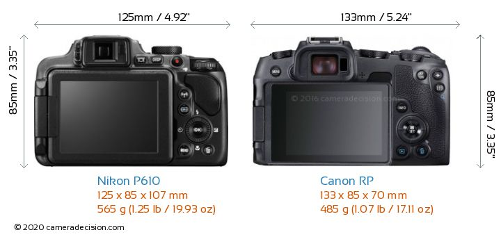 Nikon P610 vs Canon RP Camera Size Comparison - Back View