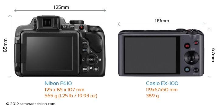 Nikon P610 vs Casio EX-100 Camera Size Comparison - Back View