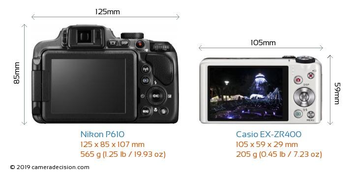 Nikon P610 vs Casio EX-ZR400 Camera Size Comparison - Back View