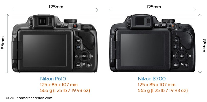 Nikon P610 vs Nikon B700 Camera Size Comparison - Back View