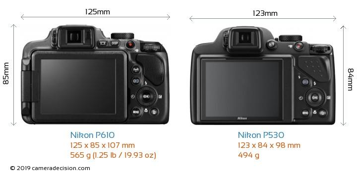 Nikon P610 vs Nikon P530 Camera Size Comparison - Back View