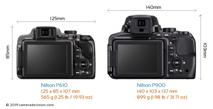 Nikon P610 vs Nikon P900 Camera Size Comparison - Back View