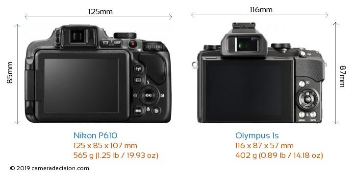Nikon P610 vs Olympus 1s Camera Size Comparison - Back View