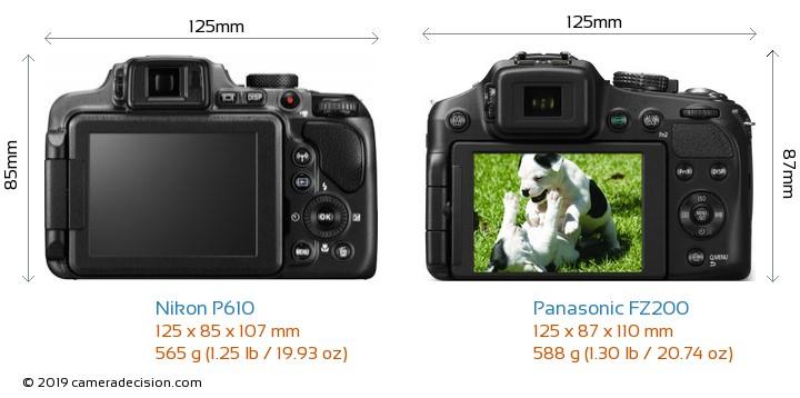 Nikon P610 vs Panasonic FZ200 Camera Size Comparison - Back View