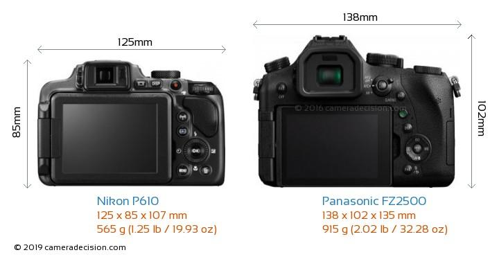 Nikon P610 vs Panasonic FZ2500 Camera Size Comparison - Back View