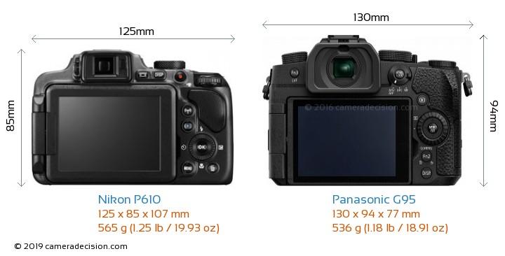 Nikon P610 vs Panasonic G95 Camera Size Comparison - Back View