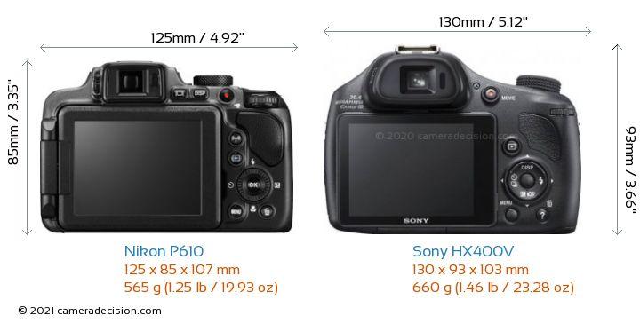 Nikon P610 vs Sony HX400V Camera Size Comparison - Back View