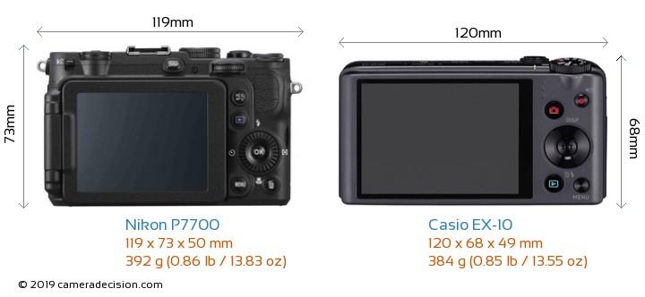 Nikon P7700 vs Casio EX-10 Camera Size Comparison - Back View