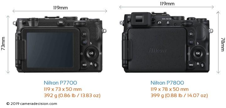 Nikon P7700 vs Nikon P7800 Camera Size Comparison - Back View