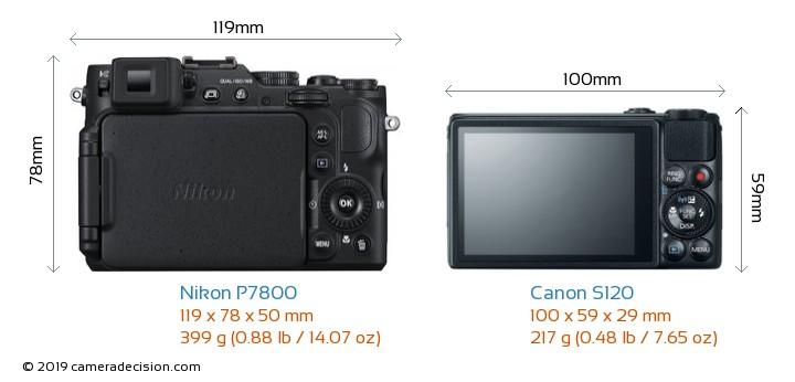 Nikon P7800 vs Canon S120 Camera Size Comparison - Back View