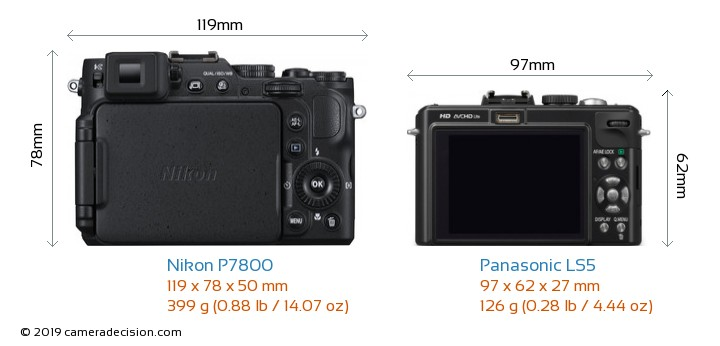 Nikon P7800 vs Panasonic LS5 Camera Size Comparison - Back View