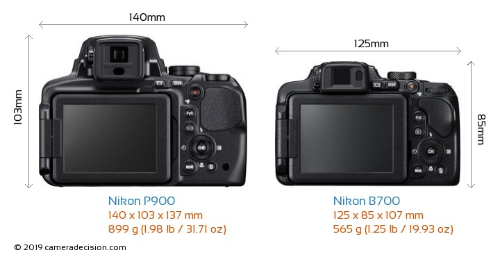 Nikon P900 vs Nikon B700 Camera Size Comparison - Back View