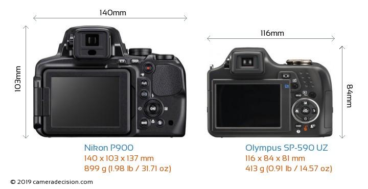 Nikon P900 vs Olympus SP-590 UZ Camera Size Comparison - Back View