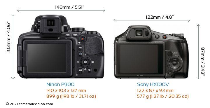 Nikon P900 vs Sony HX100V Camera Size Comparison - Back View