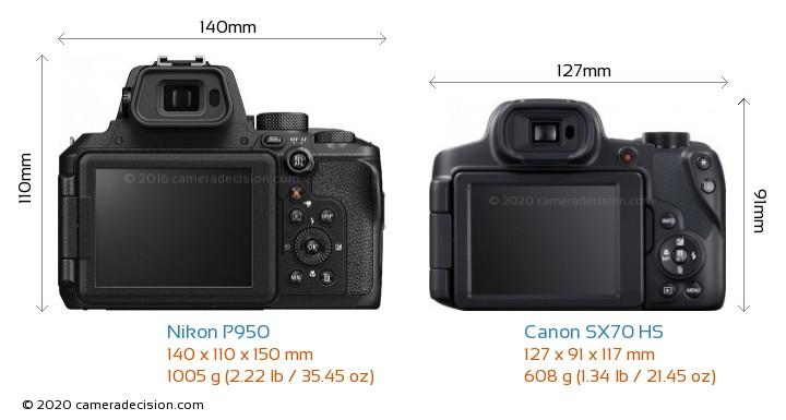 Nikon P950 vs Canon SX70 HS Camera Size Comparison - Back View