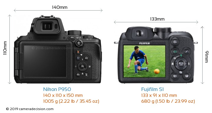 Nikon P950 vs Fujifilm S1 Camera Size Comparison - Back View