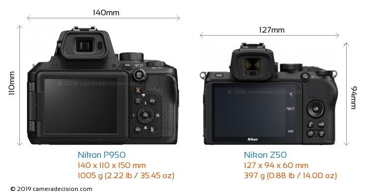 Nikon P950 vs Nikon Z50 Camera Size Comparison - Back View