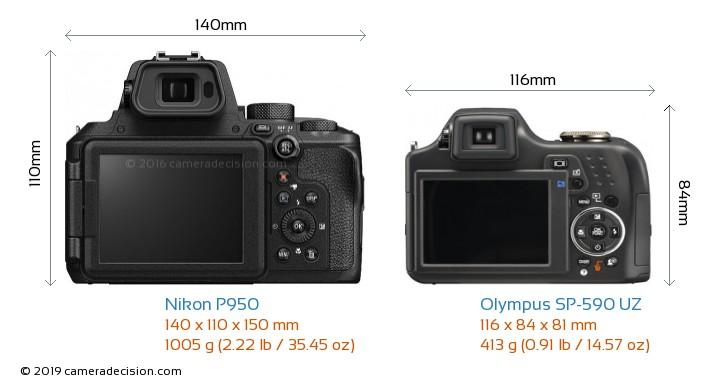 Nikon P950 vs Olympus SP-590 UZ Camera Size Comparison - Back View