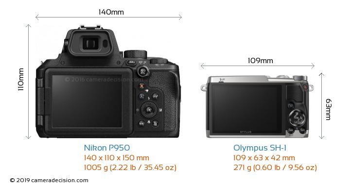 Nikon P950 vs Olympus SH-1 Camera Size Comparison - Back View