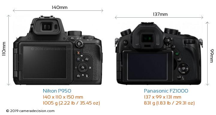 Nikon P950 vs Panasonic FZ1000 Camera Size Comparison - Back View