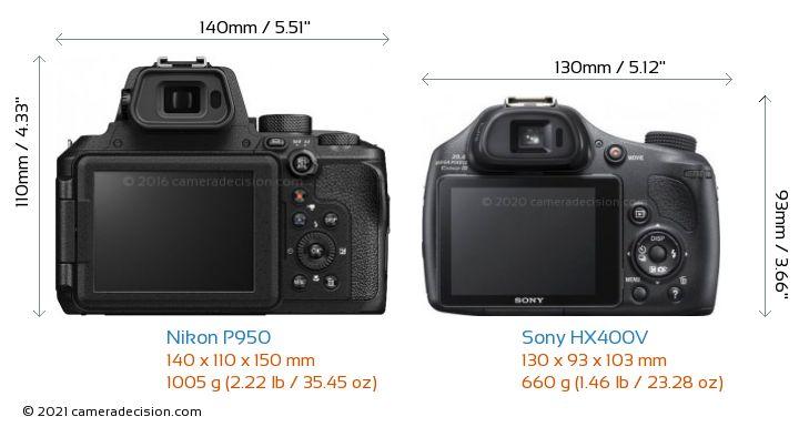 Nikon P950 vs Sony HX400V Camera Size Comparison - Back View