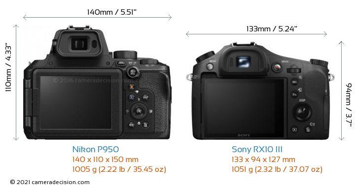 Nikon P950 vs Sony RX10 III Camera Size Comparison - Back View