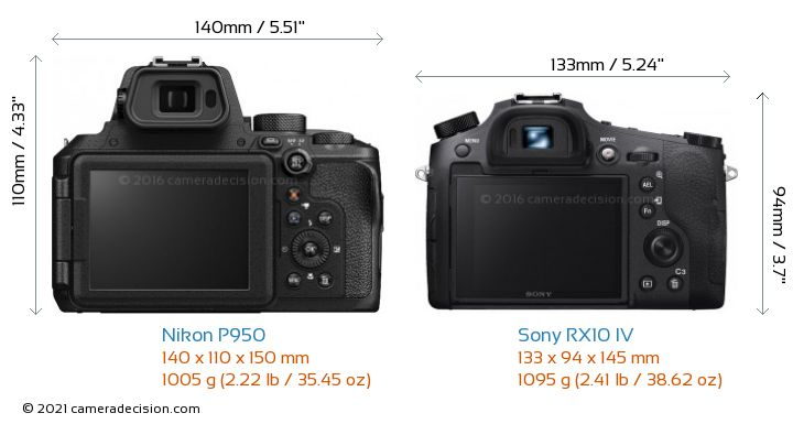 Nikon P950 vs Sony RX10 IV Camera Size Comparison - Back View