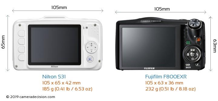 Nikon S31 vs Fujifilm F800EXR Camera Size Comparison - Back View
