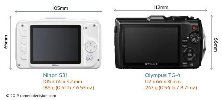 Nikon S31 vs Olympus TG-4 Camera Size Comparison - Back View