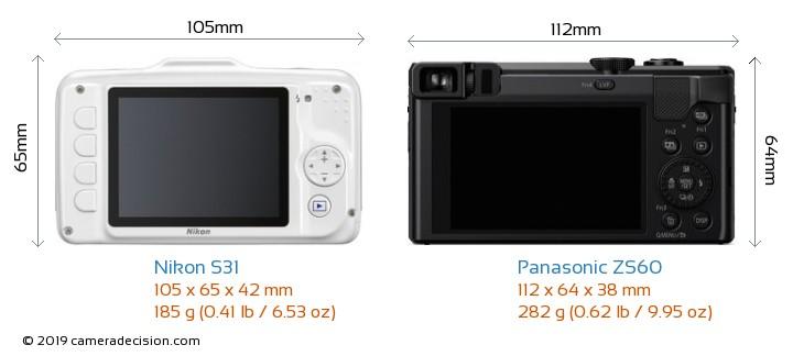 Nikon S31 vs Panasonic ZS60 Camera Size Comparison - Back View