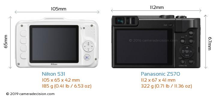 Nikon S31 vs Panasonic ZS70 Camera Size Comparison - Back View