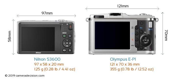 Nikon S3600 vs Olympus E-P1 Camera Size Comparison - Back View