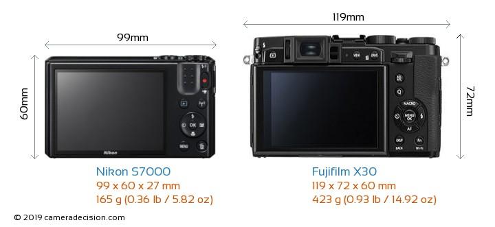 Nikon S7000 vs Fujifilm X30 Camera Size Comparison - Back View