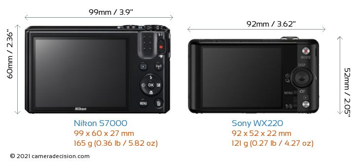 Nikon S7000 vs Sony WX220 Camera Size Comparison - Back View