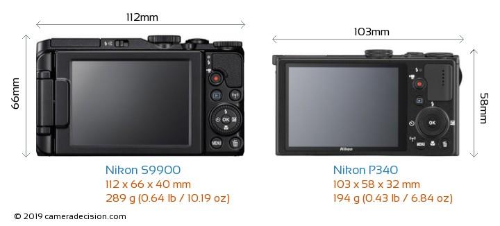 Nikon S9900 vs Nikon P340 Camera Size Comparison - Back View