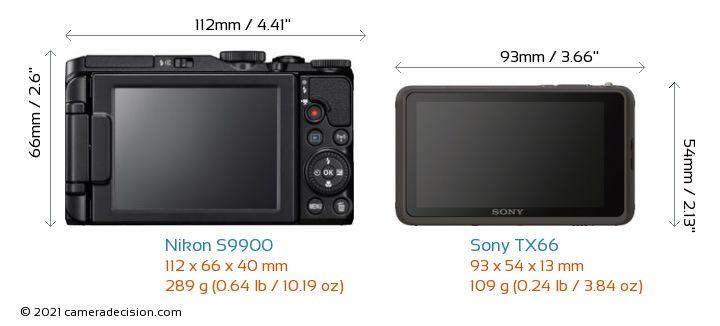 Nikon S9900 vs Sony TX66 Camera Size Comparison - Back View