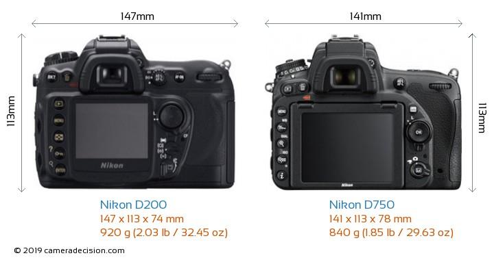 Nikon D200 vs Nikon D750 Camera Size Comparison - Back View
