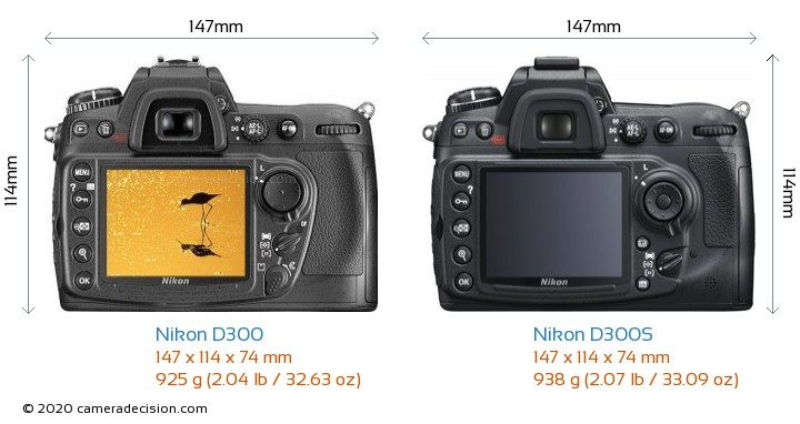 Nikon D300 vs Nikon D300S Camera Size Comparison - Back View