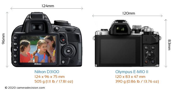 Nikon D3100 vs Olympus E-M10 II Camera Size Comparison - Back View