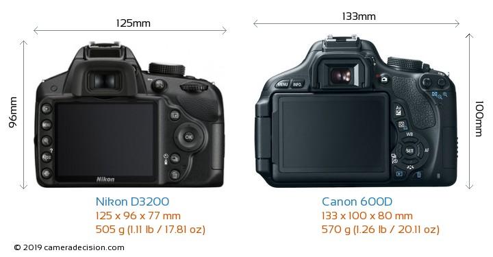 Nikon D3200 vs Canon 600D Camera Size Comparison - Back View