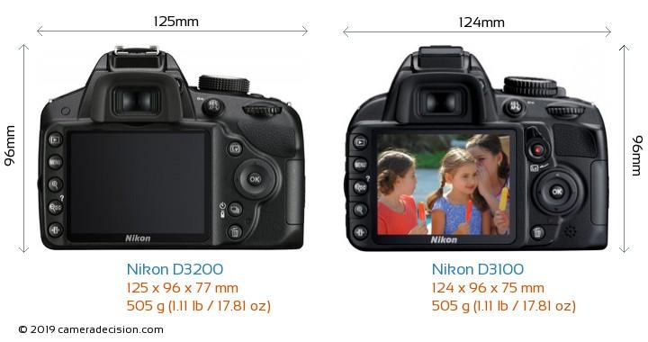 Nikon D3200 vs Nikon D3100 Camera Size Comparison - Back View
