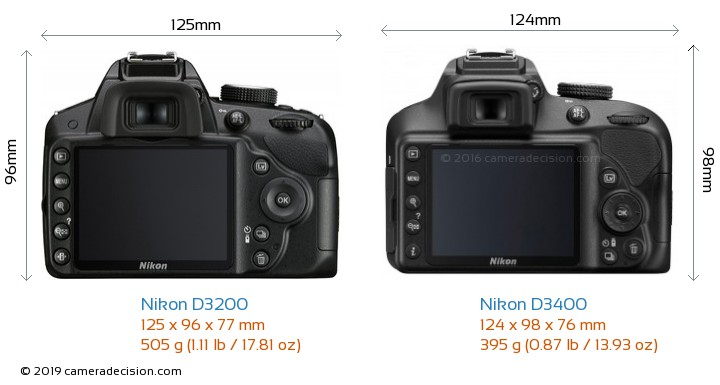 Nikon D3200 vs Nikon D3400 Camera Size Comparison - Back View