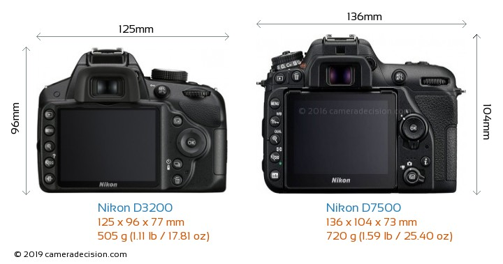 Nikon D3200 vs Nikon D7500 Camera Size Comparison - Back View