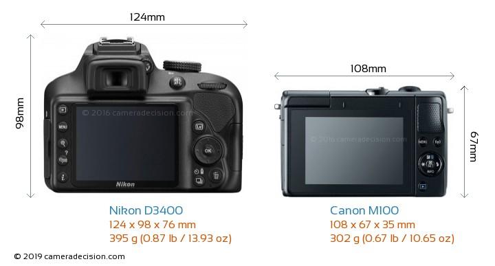 Nikon D3400 vs Canon M100 Camera Size Comparison - Back View
