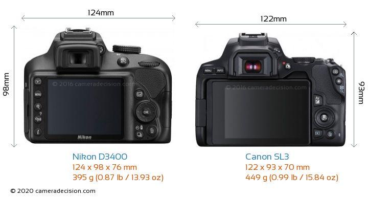 Nikon D3400 vs Canon SL3 Camera Size Comparison - Back View