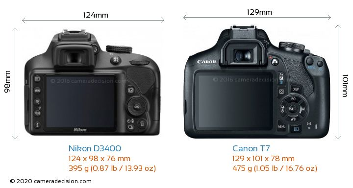 Nikon D3400 vs Canon T7 Camera Size Comparison - Back View