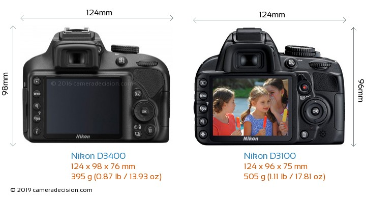 Nikon D3400 vs Nikon D3100 Camera Size Comparison - Back View