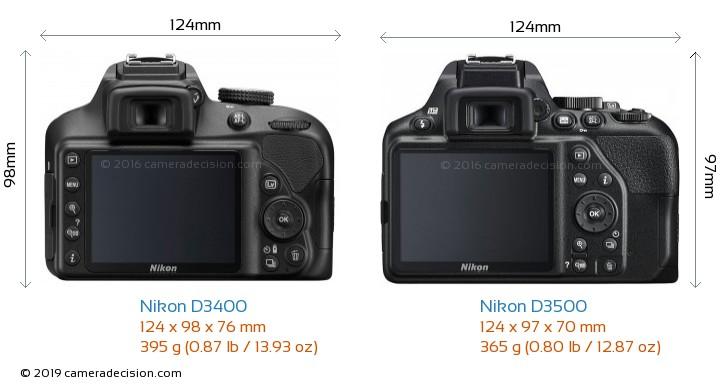 Nikon D3400 vs Nikon D3500 Camera Size Comparison - Back View