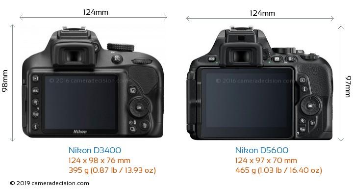 Nikon D3400 vs Nikon D5600 Camera Size Comparison - Back View