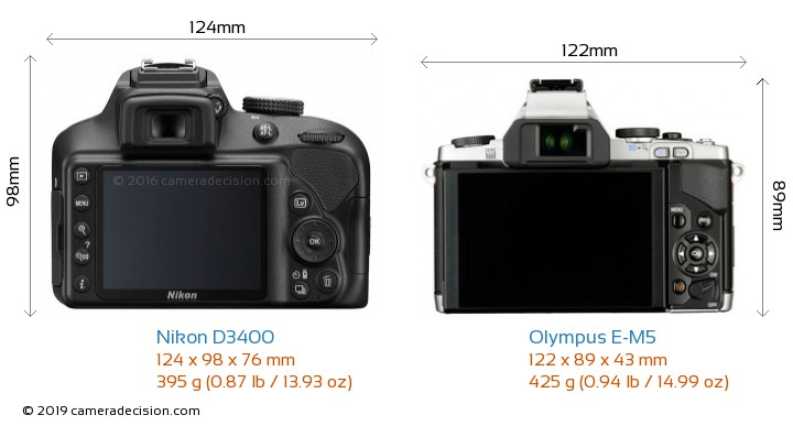 Nikon D3400 vs Olympus E-M5 Camera Size Comparison - Back View